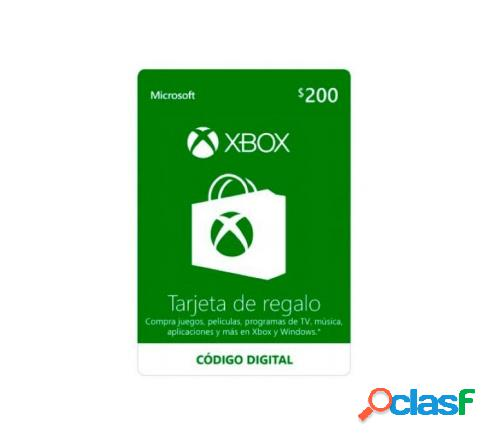 Microsoft xbox live gift card, $200 - producto digital descargable