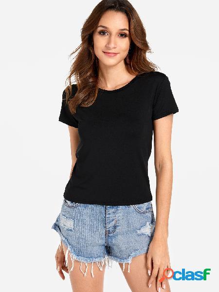 Camisetas manga corta cuello redondo negro liso