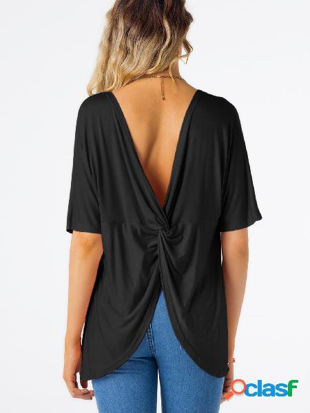 Camiseta de manga corta cuello redondo liso sin espalda negra diseño negro