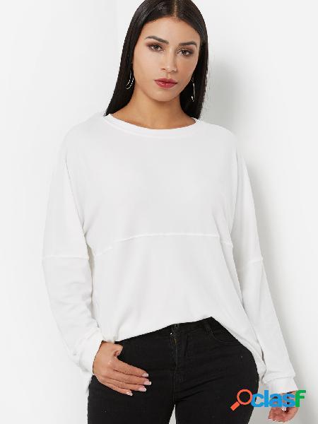 Cuello redondo blanco manga larga sudadera básica