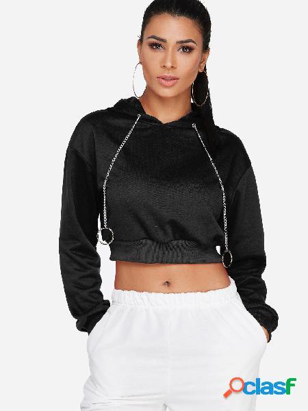 Sudadera con capucha negra de manga larga con cuello redondo y manga larga
