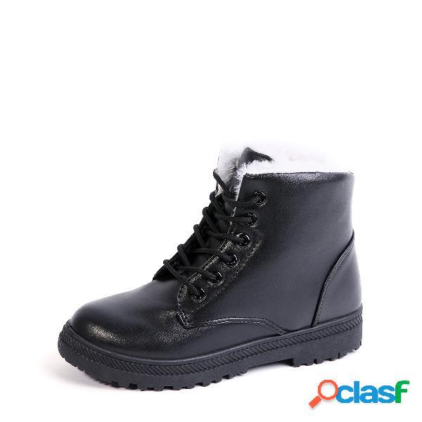 Botas impermeables forradas de piel con cordones negros