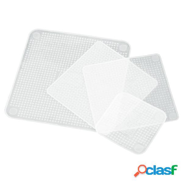 4 unids / pack transparente de silicona cling seal film multifuncional alimentos fresco mantener saran wrap
