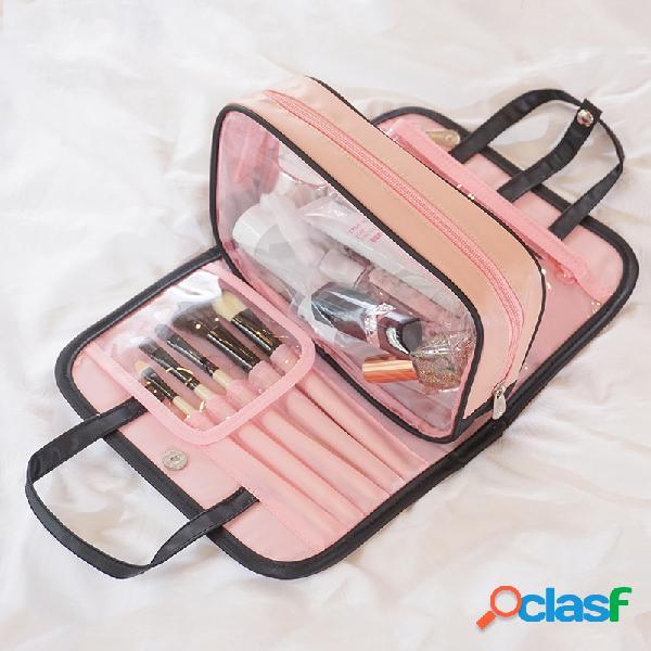 Almacenamiento de viaje portátil femenino bolsa almacenamiento de cosméticos bolsa gran capacidad 2 in1 cosméticos bolsa