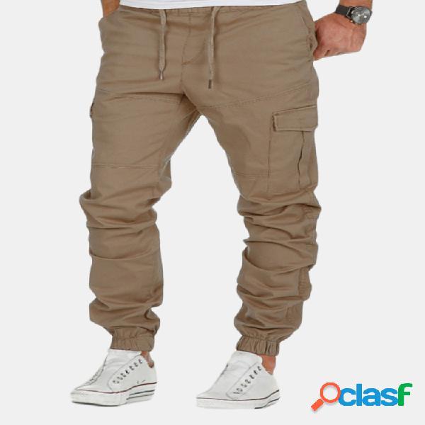 Mens primavera verano multi-bolsillo cordón cintura elástica color sólido delgado ajuste casual pantalones