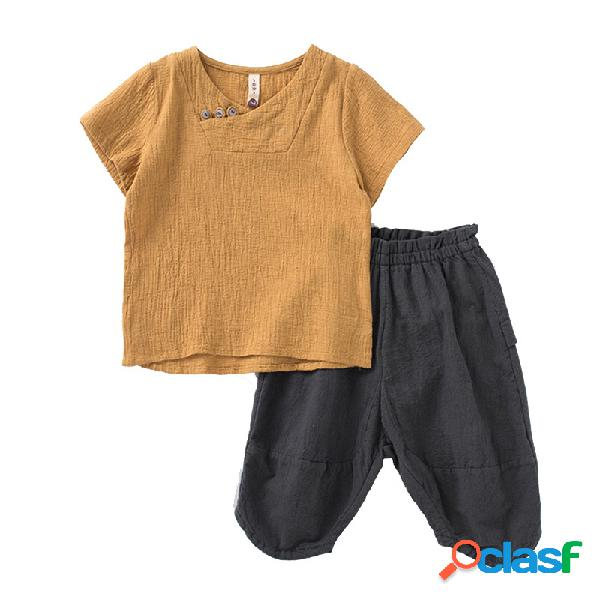 Vendimia estilo chino girls boys casual botones conjunto de ropa para 2y-11y