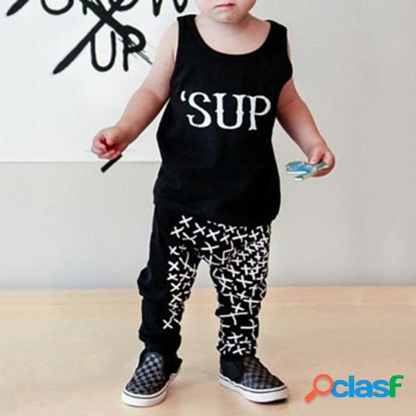 2pcs 'sup baby boy conjunto de ropa sin mangas tops + pantalones conjunto de ropa para niños