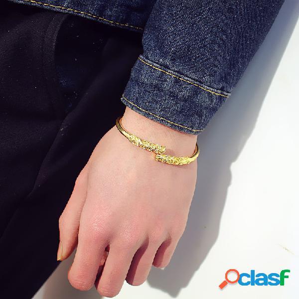 Brazalete de oro unisex vintage brazalete pulseras punk plata oro negro brazalete para hombres mujeres