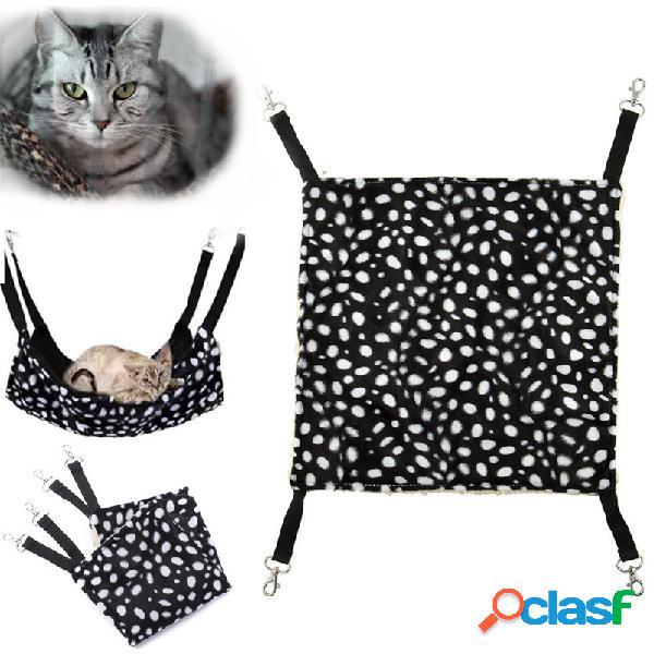 Warm pet animal cat kitty hanging ferret hammock polka dot design cama jaula de la almohadilla