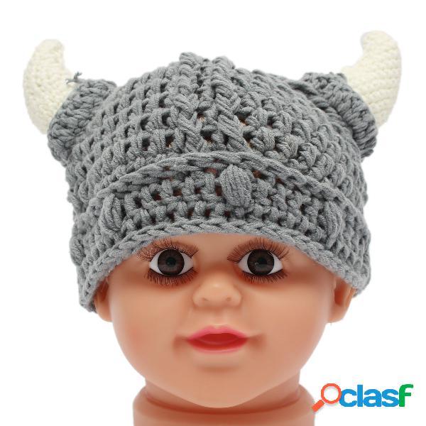 Bebé recién nacido niños chicos cuerno lana tejido sombrero soft foto accesorios crochet cap