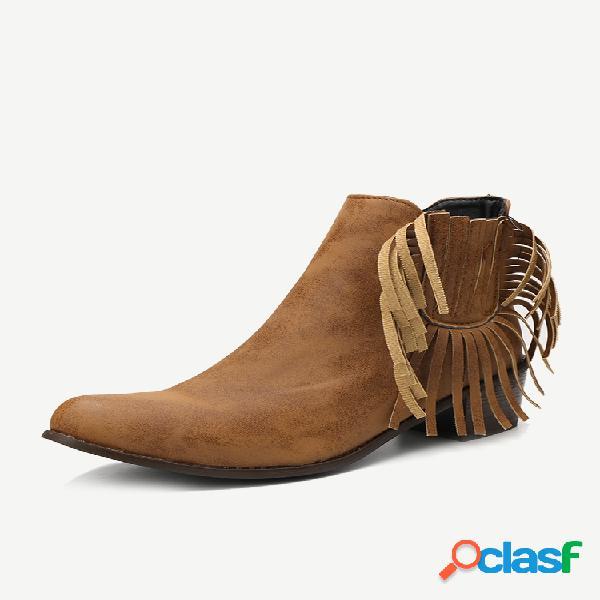 Tamaño grande mujer borla retro punta puntiaguda cremallera tacón grueso corto botas