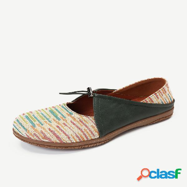 Lostisy banda elástico ajustable hollow out empalme zapatos planos casuales