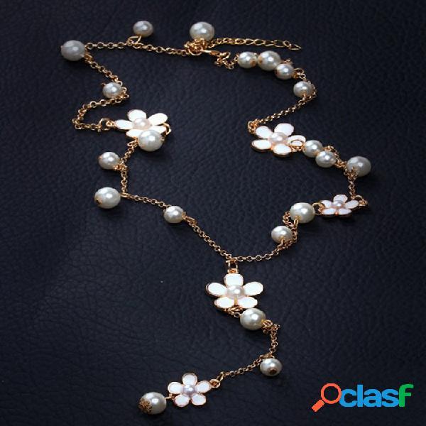 Trendy metal geometry flower collar largo perla borla colgante cadena de suéter vendimia joyería