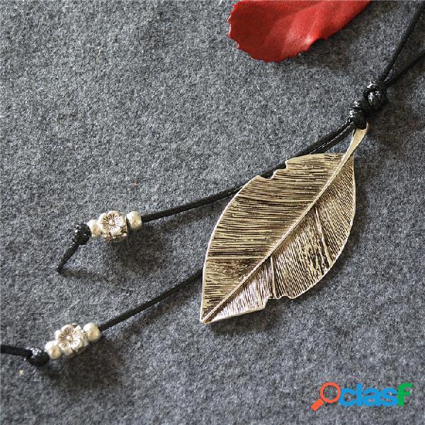 Vendimia borla colgante collar de metal hoja colgante collar largo suéter cadena joyería étnica