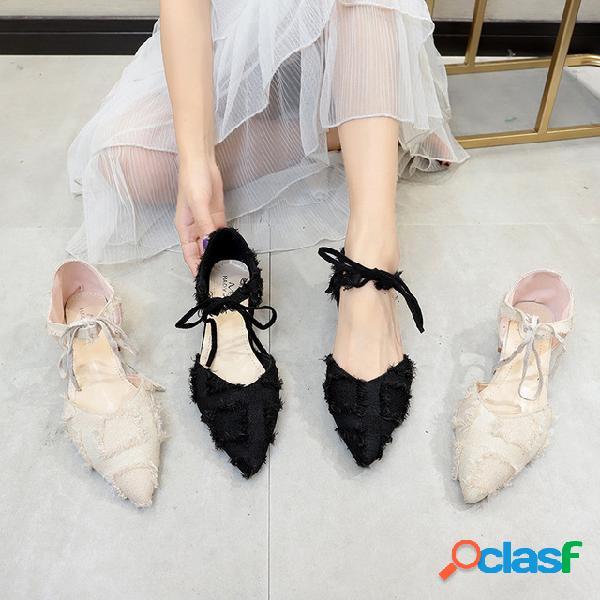 Nuevos zapatos de mujer moda gruesa con correas puntiagudas zapatillas individuales resistente al desgaste zapatos de tacón de gamuza