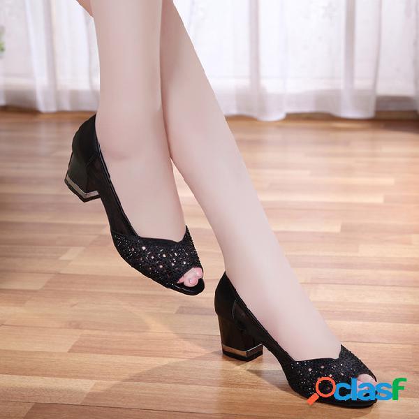 Las sandalias de las mujeres de nueva rhinestone de malla de moda casual hollow fish boca sandalias de espesor con zapatos individuales salvajes