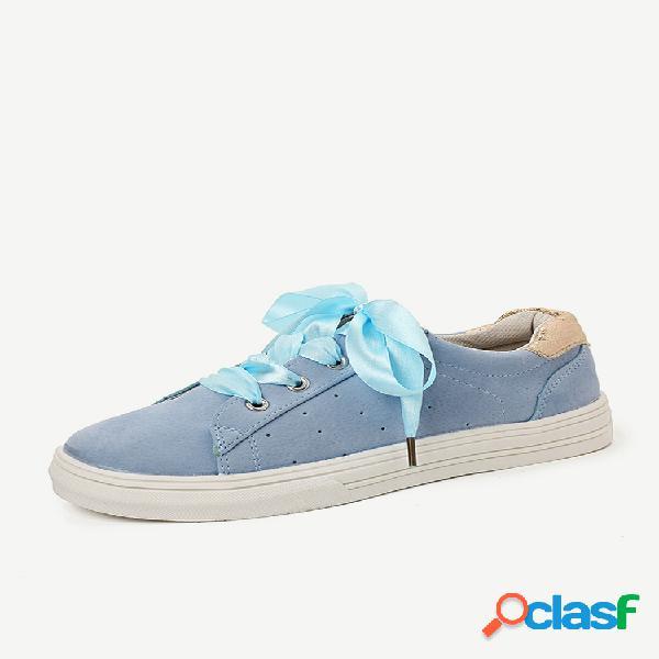 Plus tamaño mujer al aire libre zapatos casuales con cordones huecos transpirables para caminar