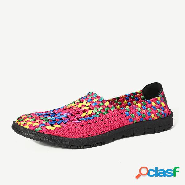 Mujer casual colorful empalme de tela sin cordones al aire libre zapatillas
