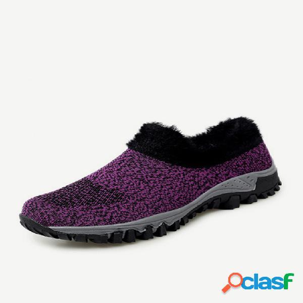 Mujer invierno al aire libre zapatillas de felpa con forro cálido de malla transpirable
