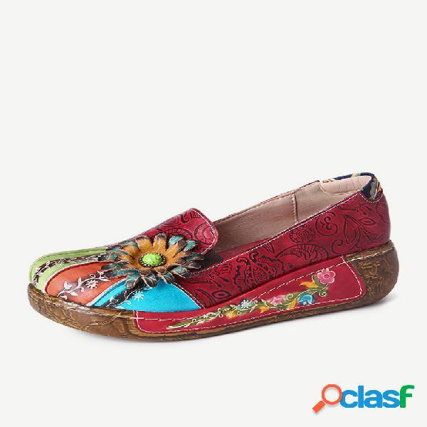 Socofy retro floral en relieve piel genuina slip casual de fondo grueso en zapatos individuales