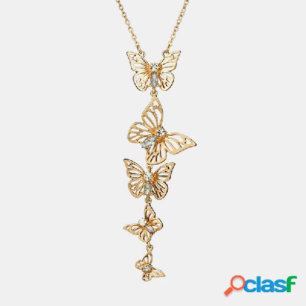 Vendimia collar geométrico de mariposa hueca de metal borla de mariposa de diamantes de imitación colgante collar largo