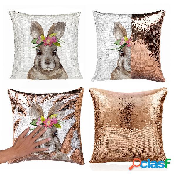 Almohada de pascua caso funda de cojín de huevo de conejo lindo