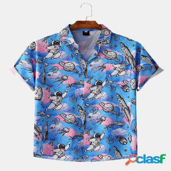 Hombres space astronaut graphic printed dye casual manga corta suelta camisa