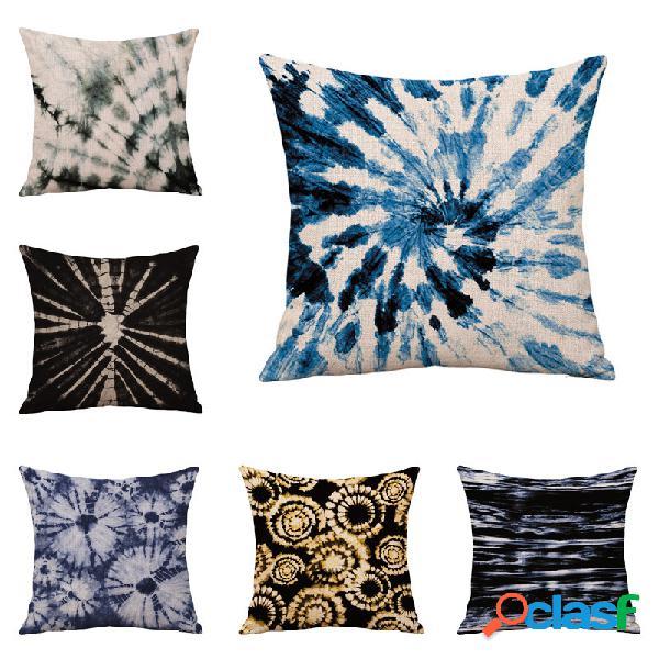 Almohada de impresión personalizada con núcleo hecho a mano con teñido anudado, funda de almohada de lino de algodón, cojín, funda de almohada, almohada para sofá