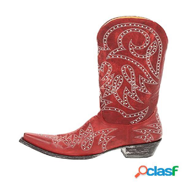 Tamaño grande retro mujer remache patrón vaquero de punta puntiaguda informal botas