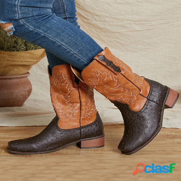 Mujer tamaño grande sin cordones étnico patrón vaquero de media pantorrilla con puntos botas