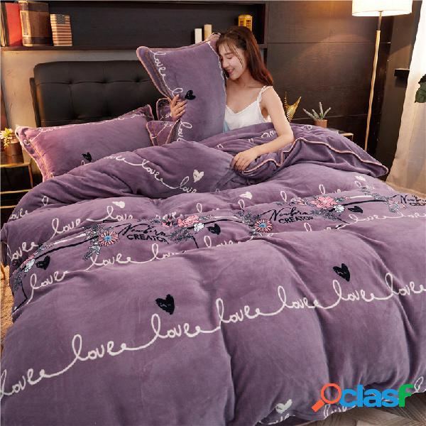 4 piezas de lana de visón cálida lana de coral lana de leche ropa de cama sábana de franela gruesa funda nórdica