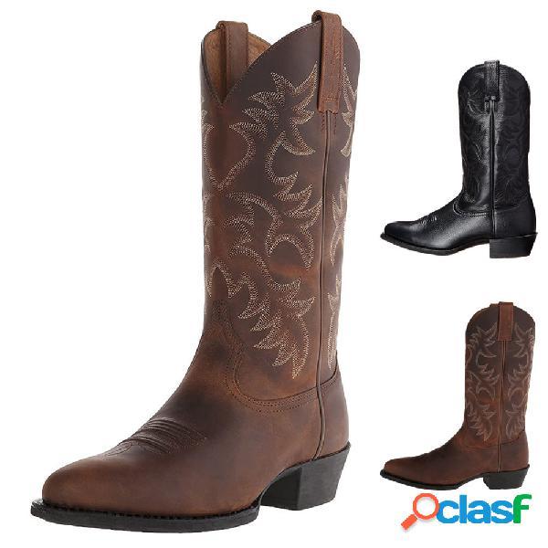 Hombres classic vaquero de media pantorrilla con punta en punta botas