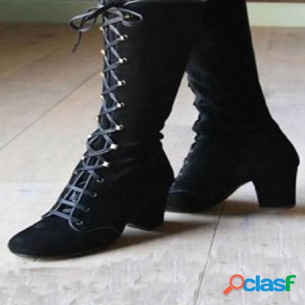 De las mujeres de punta redonda con cordones de gamuza tacón grueso rodilla botas