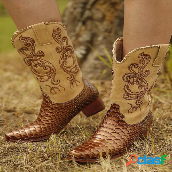 Plus talla mujer bordado empalme tacón grueso media pantorrilla vaquero botas