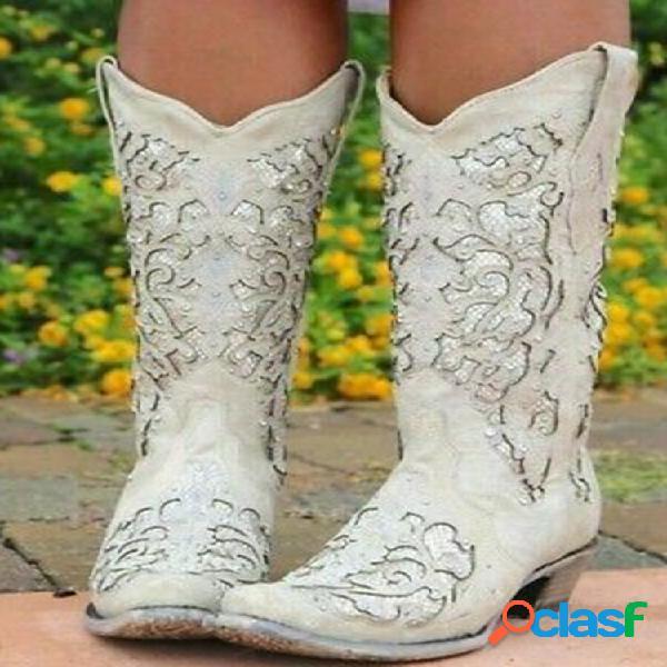 Mujer flor elegante retro de gran tamaño patrón vaquero de media pantorrilla con punta en punta botas