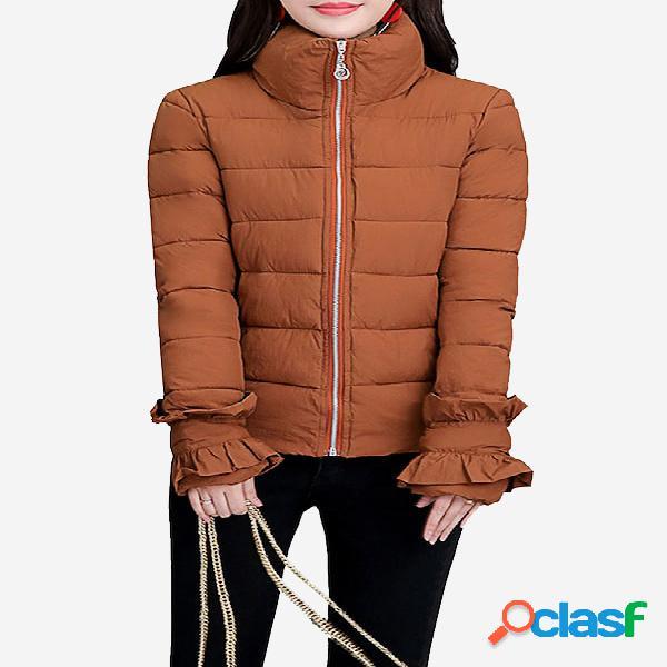 Abrigo de invierno para mujer acolchado diseño cierre de cremallera prendas de abrigo sueltas