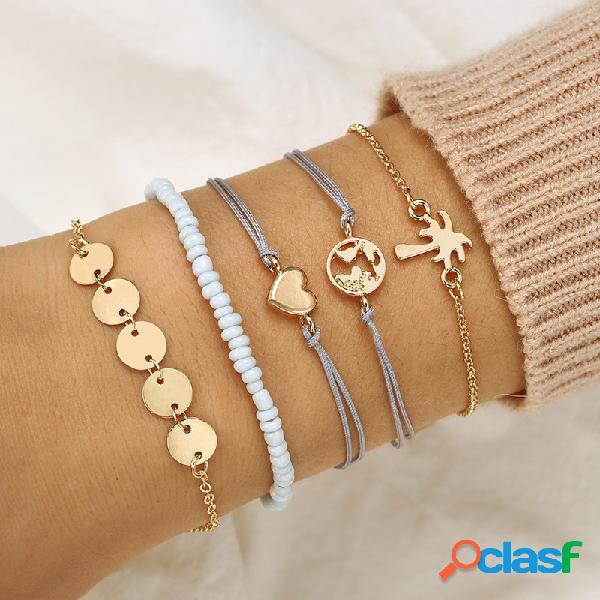 Bohemian weave bracelet set 5 piezas pulsera de arroz con cuentas coconut tree love bracelet para mujeres