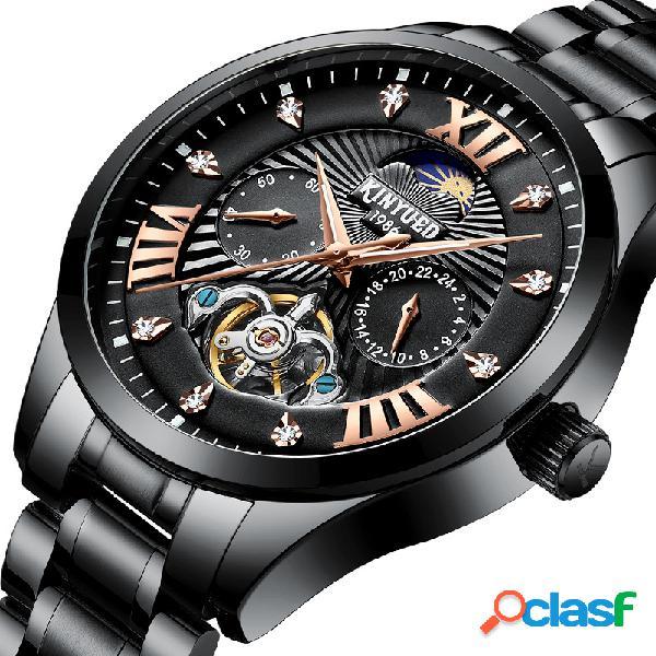 Fashion moon style men watch 24 horas display reloj mecánico automático diamond moon phase men watch