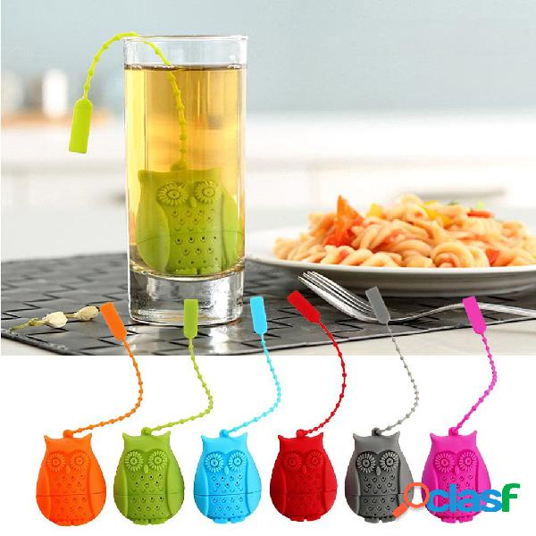 Infusor de té de silicona owl mango filtro infuser para tazas de té de grano de hojas sueltas