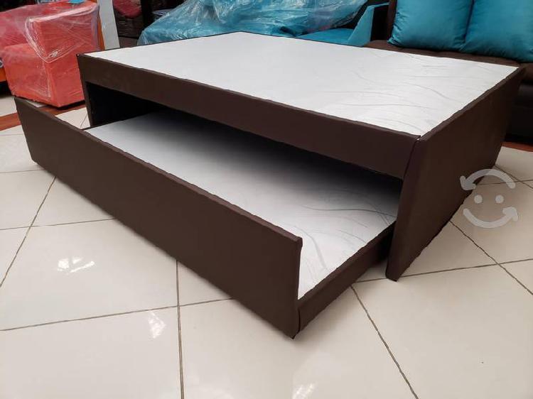 Cama canguro doble individual tapizada en vinil