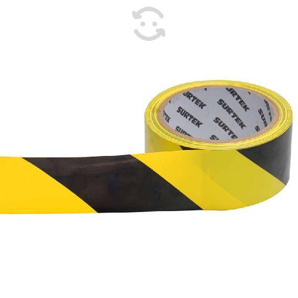 Cinta de señalización amarillo y negro 18 mt