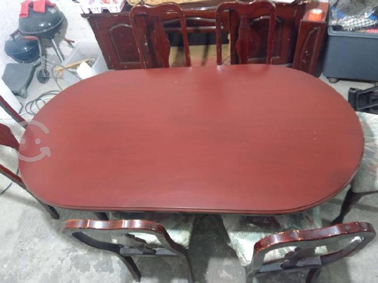 Comedor 6 sillas color caoba