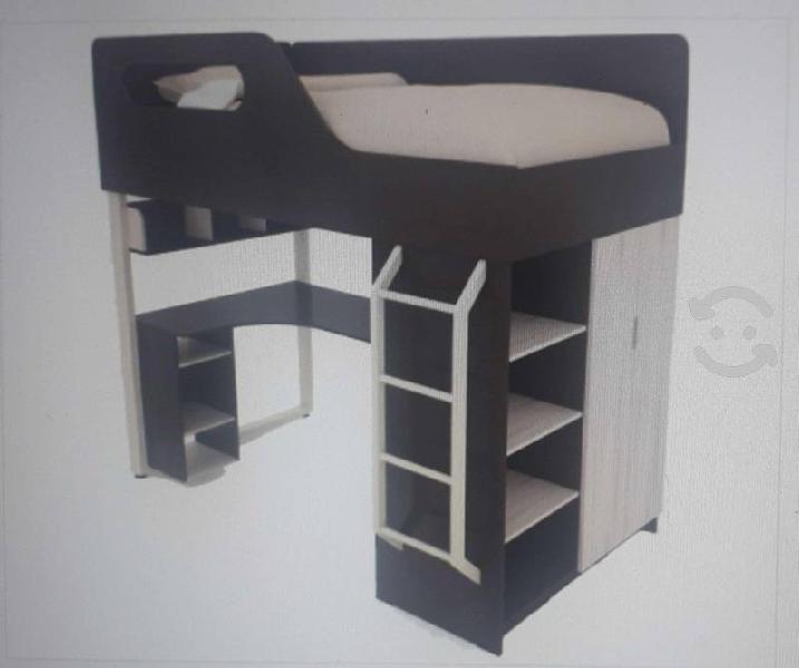 Litera cama alta individual con escritorio