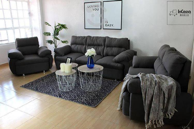 Sala tapizada en lino gris contemporanea