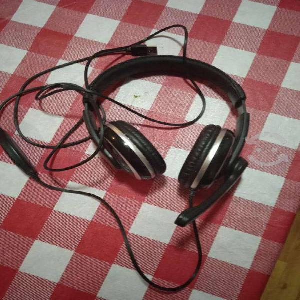 Audífonos diadema alámbricos de usb con micrófono