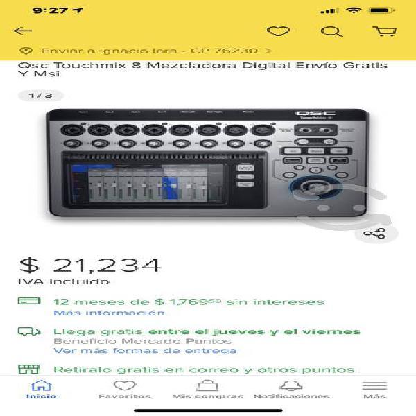 Mezcladora QSC TOUCHMIX 8 remato $14,997.00