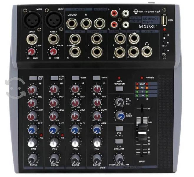 Mixer profesional dj y sonido de 8 canales usb