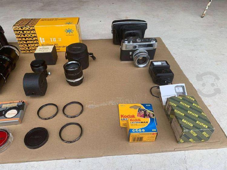 Paquete cámaras fotograficas ricoh, yashica, lente