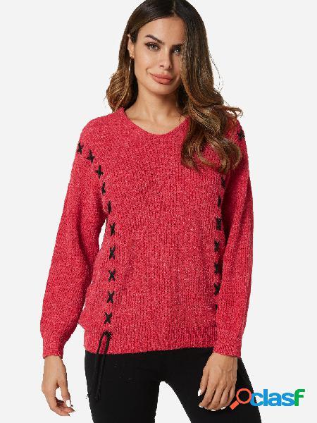 Suéter de manga larga con cuello en V y diseño de cordones rojos