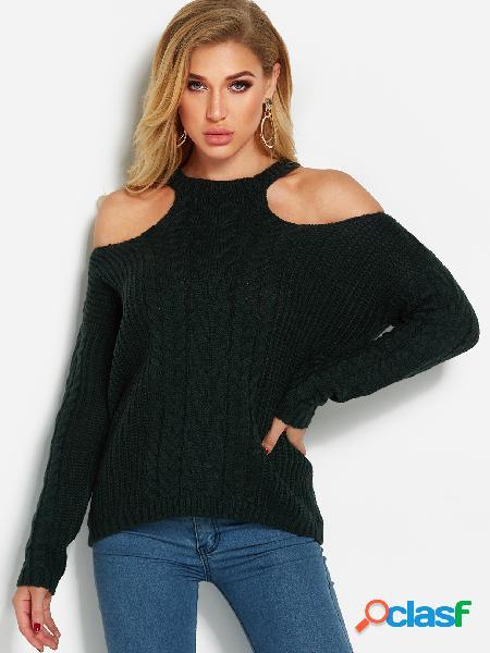 Suéter manga larga hombro frío atrovirens